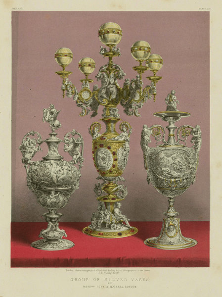 Associate Product INTERNATIONAL EXHIBITION. Group of silver vases. Hunt & Roskell, London 1862