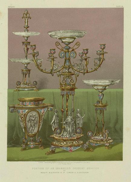 Associate Product INTERNATIONAL EXHIBITION. Enamelled dessert service Elkington Birmingham 1862