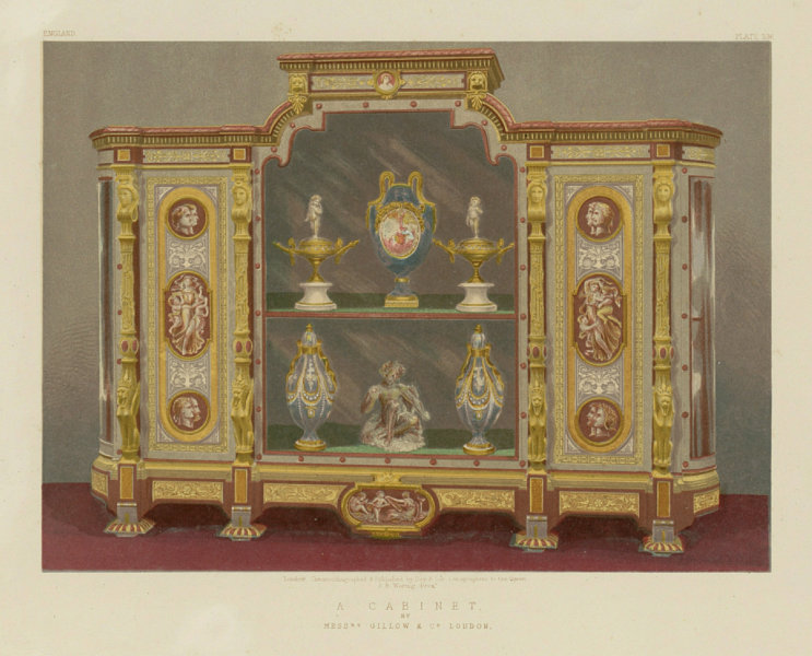 Associate Product INTERNATIONAL EXHIBITION. A cabinet - Messrs Gillow & Co London 1862 old print