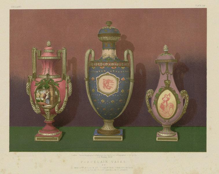 Associate Product INTERNATIONAL EXHIBITION. Porcelain vases. Rose Coalport, Shropshire 1862