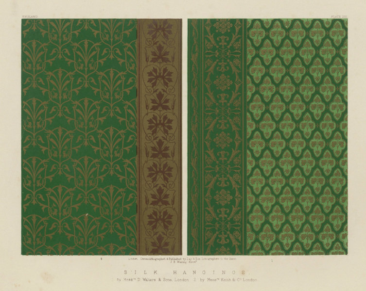 Associate Product INTERNATIONAL EXHIBITION. Silk hangings Walters & Sons/Keith & Co London 1862
