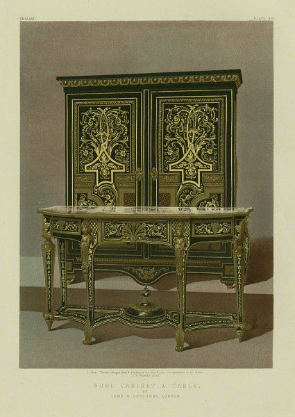 Associate Product INTERNATIONAL EXHIBITION. Buhl cabinet & table. Toms & Luscombe, London 1862