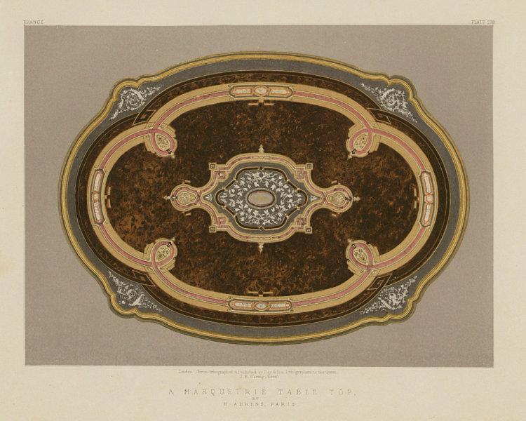 Associate Product INTERNATIONAL EXHIBITION. A marquetrie table top - H Ahrens, Paris 1862 print