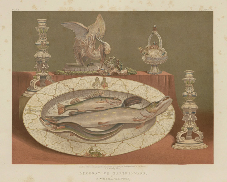 Associate Product INTERNATIONAL EXHIBITION. Decorative earthenware. Avisseau, Tours 1862 print