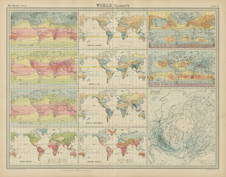 Associate Product World temperature rainfall pressure wind storm tracks frequency. TIMES 1922 map