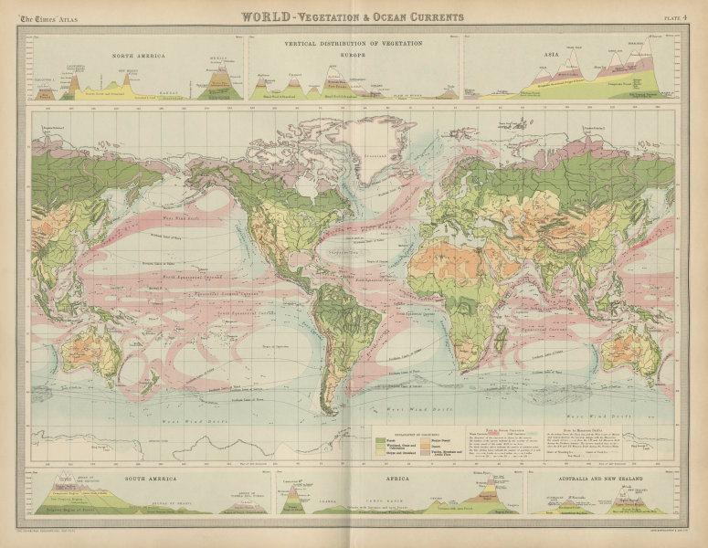 Associate Product World. Vegetation. Ocean currents. Continental cross sections. TIMES 1922 map