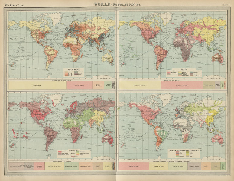 Associate Product World - population races religions. Business languages. THE TIMES 1922 old map