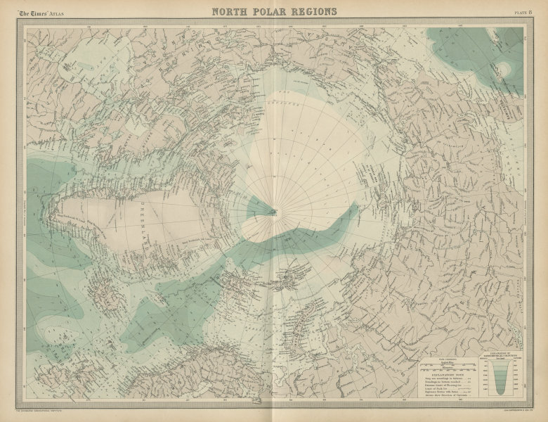 Associate Product North Pole. Arctic Explorers' tracks Peary 1909. Nansen Cagni. TIMES 1922 map