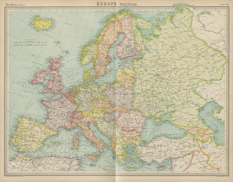 Associate Product Europe. Italian Albania. Czechosolvakia inc. Carpathian Ruthenia. TIMES 1922 map