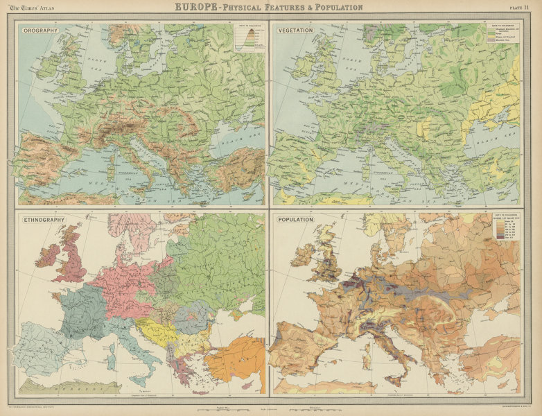 Europe. Relief. Vegetation Ethnicity Race Population. THE TIMES 1922 old map