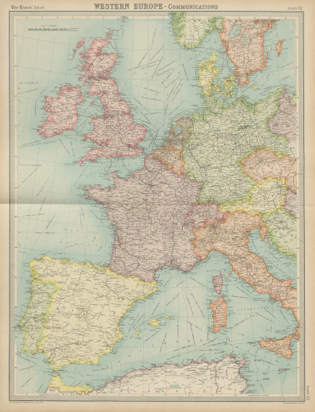 Associate Product Western Europe - Communications. Railways shipping routes. THE TIMES 1922 map