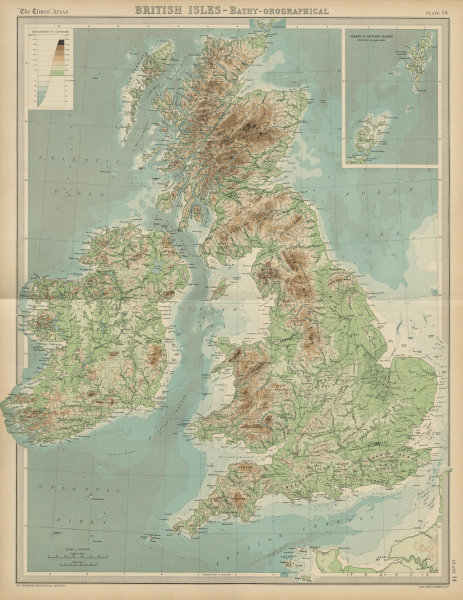 Associate Product British Isles - Bathy-orographical. Relief mountains rivers. THE TIMES 1922 map