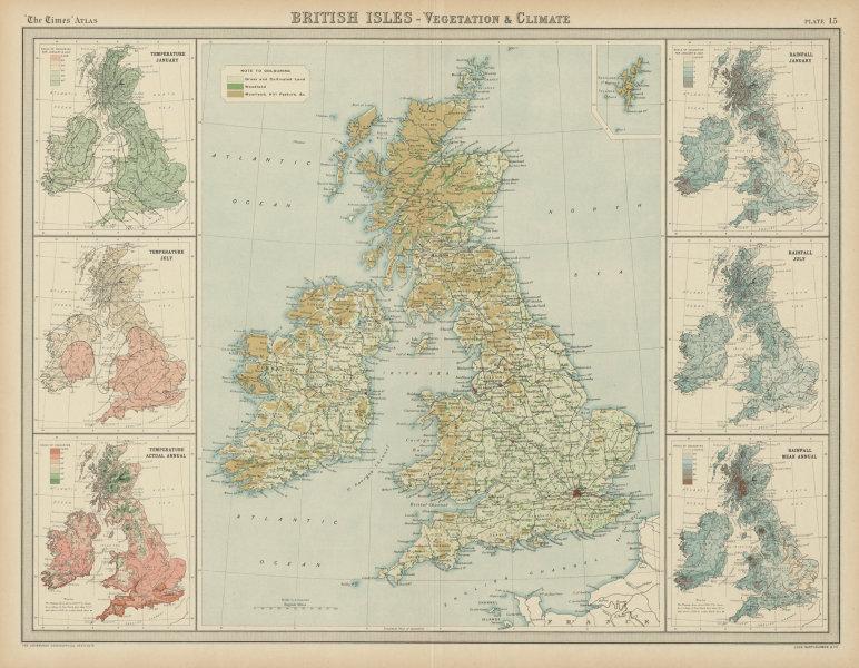 Associate Product British Isles Vegetation Climate. Temperature rainfall woodland. TIMES 1922 map