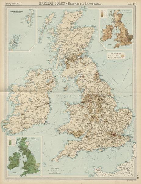 Associate Product British Isles Railways Industrial. England Ireland Scotland Wales TIMES 1922 map