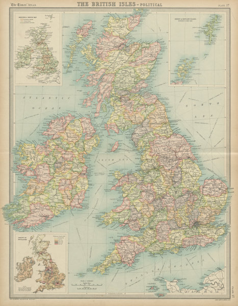 Map Of England Ireland And Scotland.British Isles Political Counties England Ireland Scotland Wales