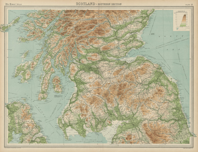 Southern Scotland. Relief & railways. THE TIMES 1922 old vintage map chart