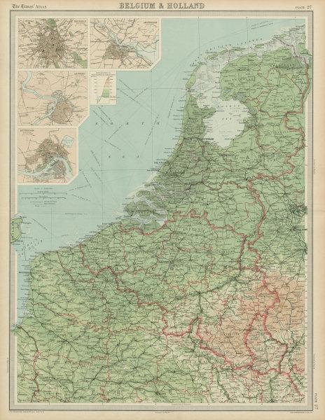 Associate Product Belgium & Holland. Benelux. Rotterdam Antwerp Brussels Amsterdam. TIMES 1922 map