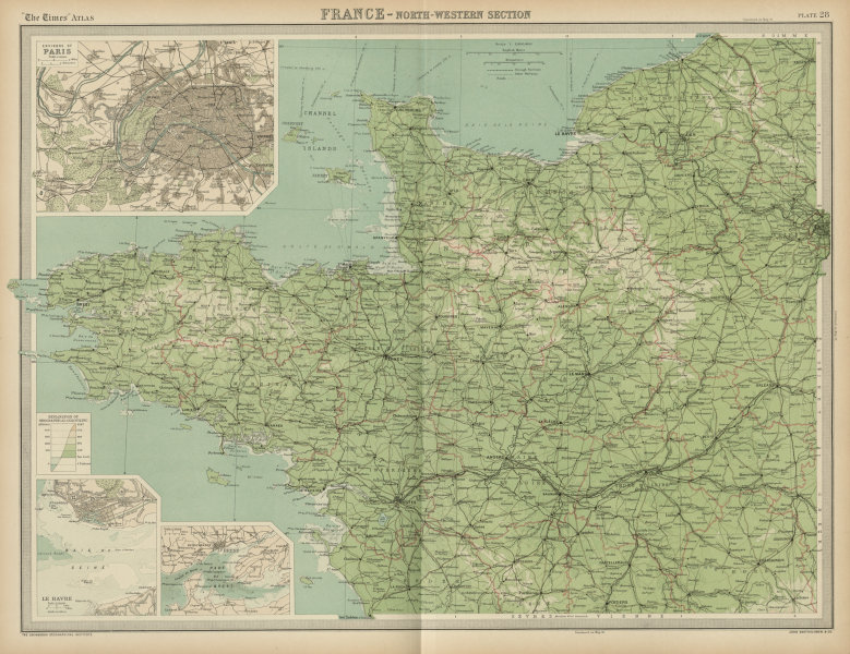 Associate Product North-western France. Brittany Normandy Loire valley. THE TIMES 1922 old map