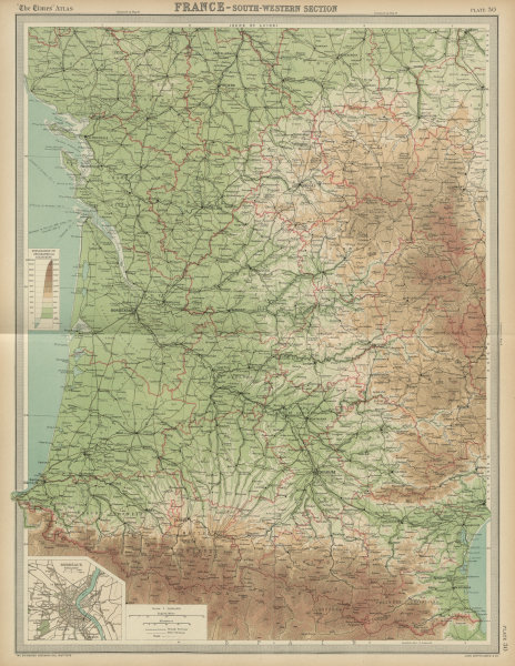 Associate Product South-west France. Aquitaine Pyrenees Charente Limousin. THE TIMES 1922 map