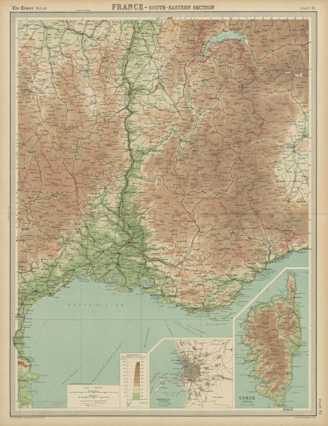 Associate Product South-east France. Provence Rhone Alpes Languedoc Marseille. THE TIMES 1922 map