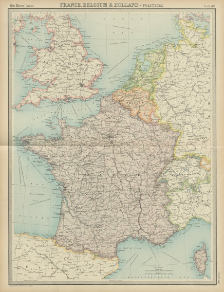 Associate Product France, Belgium & Holland - Political. French Saar Basin. THE TIMES 1922 map