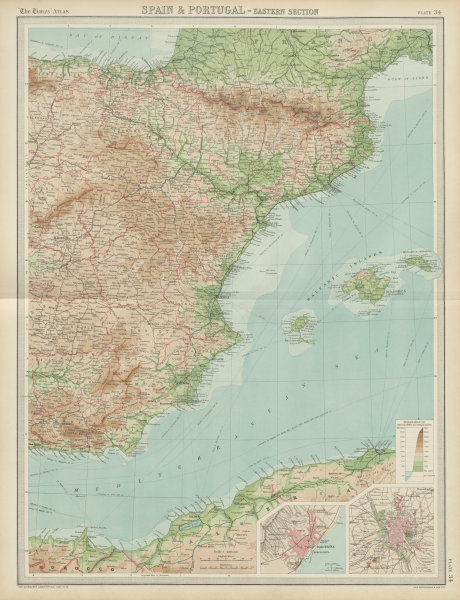 Associate Product Eastern Spain. Balearic islands. Madrid Barcelona. THE TIMES 1922 old map