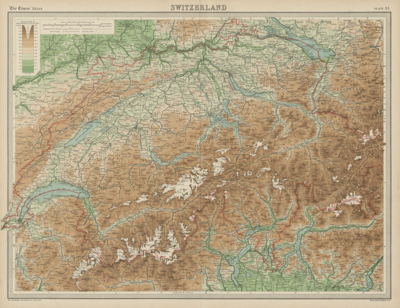 Associate Product Switzerland. Relief Mountains Glaciers railways. THE TIMES 1922 old map