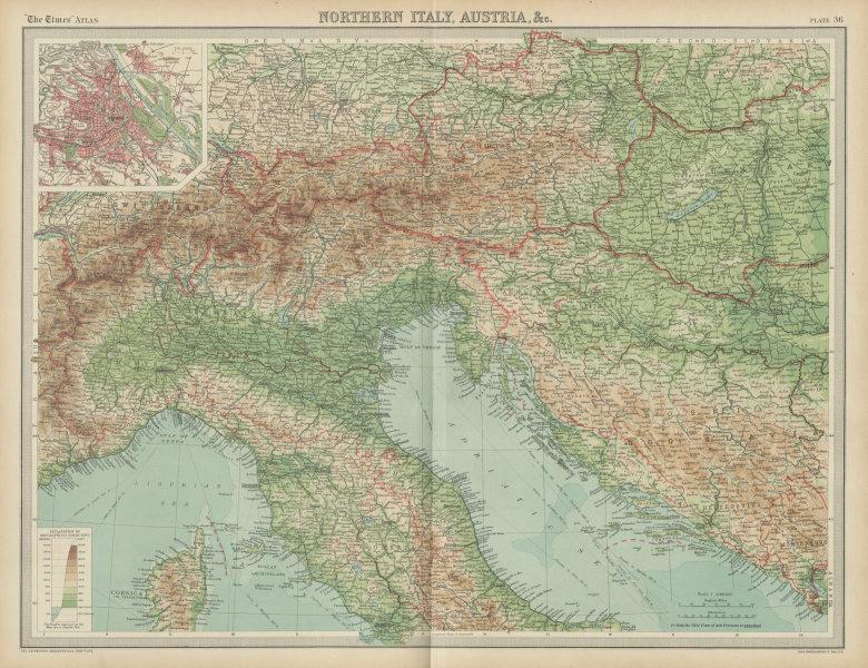 Associate Product Northern Italy Austria Yugoslavia. Eastern Alps. Hungary. Vienna. TIMES 1922 map