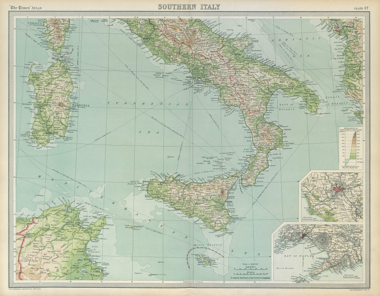 Associate Product Southern Italy. Sardinia Sicily. Rome Naples. THE TIMES 1922 old vintage map