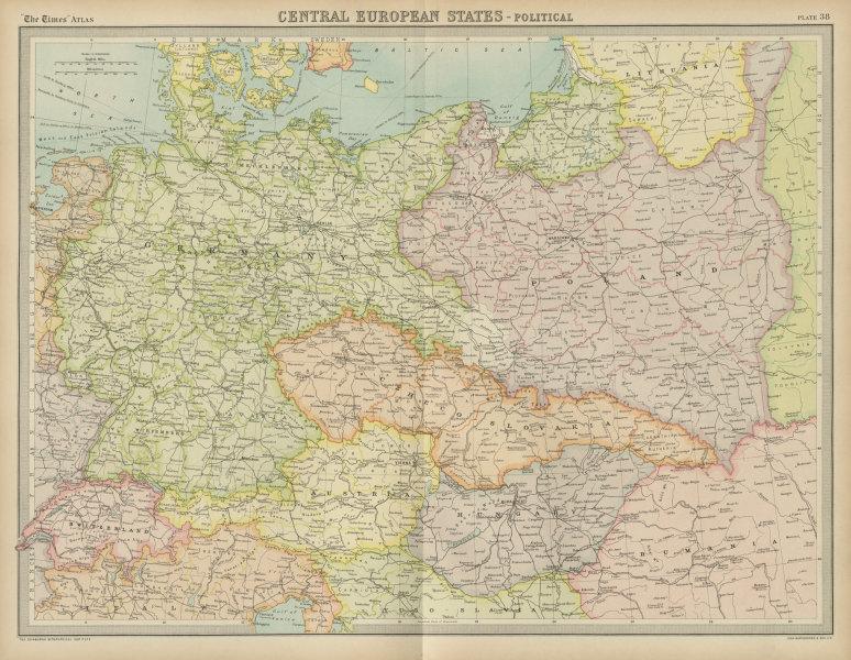 Central Europe. Germany Poland Czechoslovakia Carpathian Ruthenia TIMES 1922 map