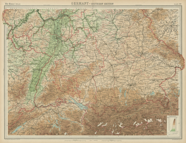 Southern Germany. Bavaria Wurtemberg Franconia. THE TIMES 1922 old vintage map