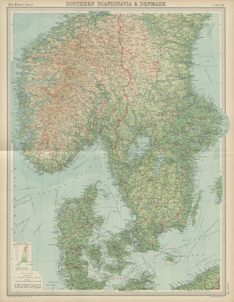 Southern Scandinavia & Denmark. Norway Sweden. THE TIMES 1922 old vintage map