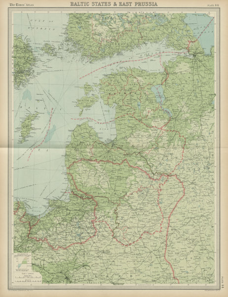 Details about Baltic states. East Prussia. Unresolved borders. Estonia  Latvia. TIMES 1922 map