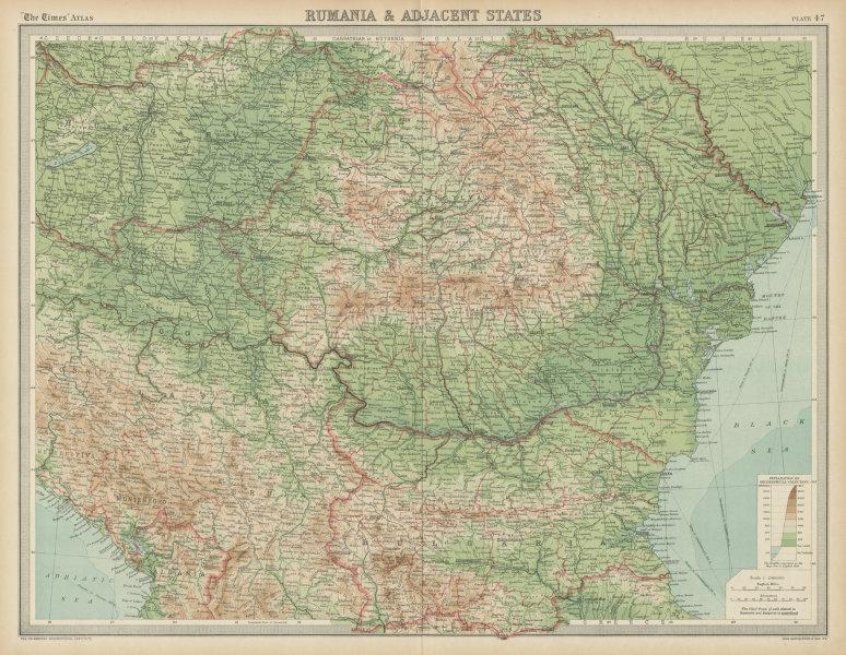 Rumania & adjacent states. Romania Bulgaria Balkans. THE TIMES 1922 old map