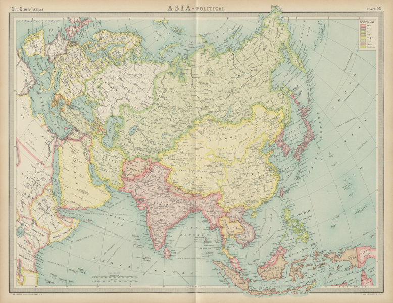 Associate Product Asia political. Chinese Mongolia. French Indochina Japanese Korea TIMES 1922 map
