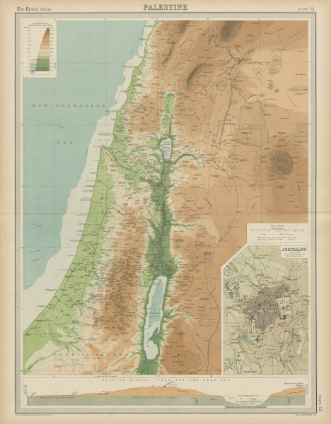 Associate Product Palestine relief. Holy Land. Israel. Judea Dead Sea cross section TIMES 1922 map