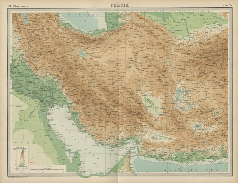 Associate Product Persia. Iran. Relief. THE TIMES 1922 old vintage map plan chart