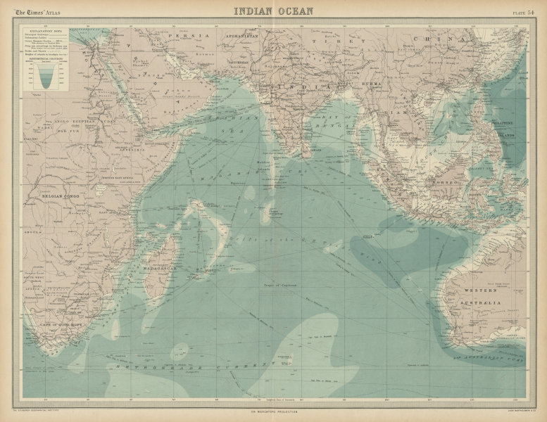 Associate Product Indian Ocean. Shipping routes, currents & depths. THE TIMES 1922 old map