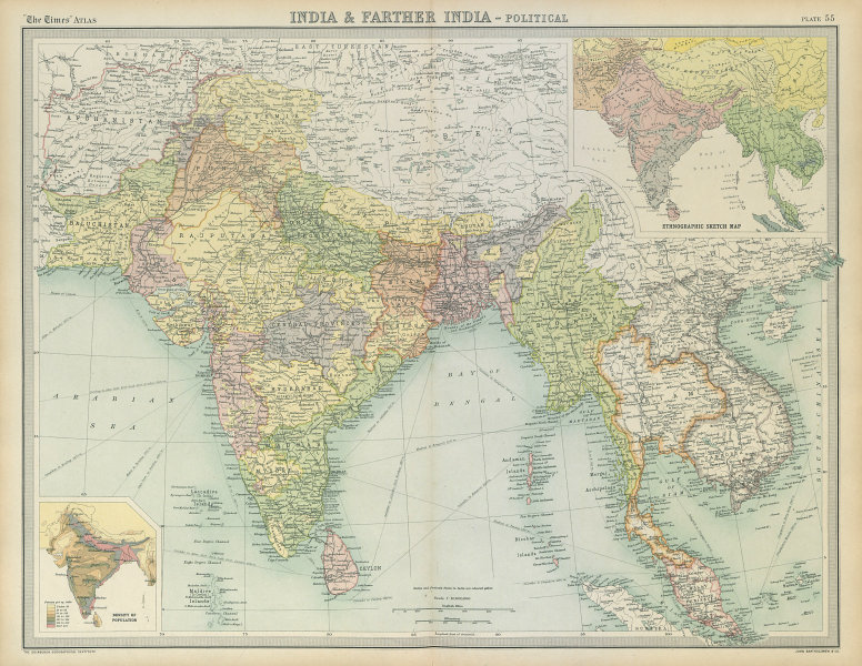 Associate Product South Asia. British & Farther India. Indochina. Ethnographic. TIMES 1922 map