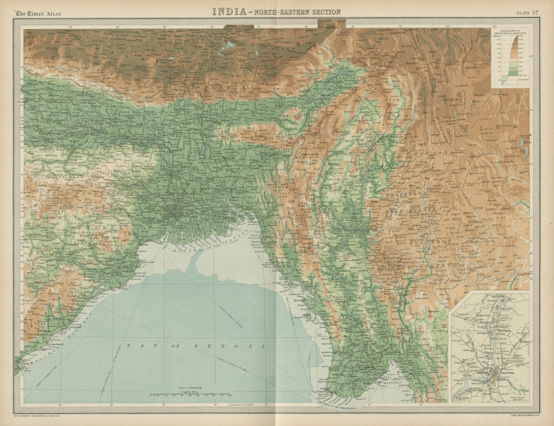 NE British India. Bengal Bangladesh Burma Assam Shan States. TIMES 1922 map