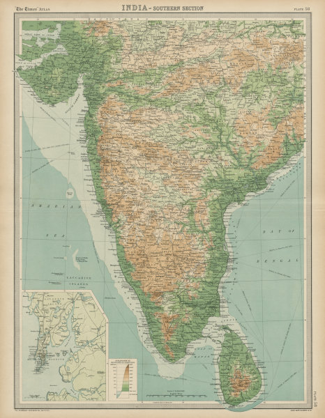 Associate Product British India - southern section. Relief. Ceylon Sri Lanka. THE TIMES 1922 map