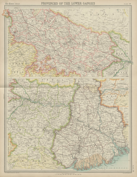 Associate Product British India. Lower Ganges. United Provinces Bihar Bengal. TIMES 1922 old map