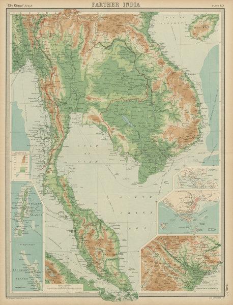 Associate Product Farther India. Indochina Malaya. Singapore. Hanoi. Siam Annam. TIMES 1922 map