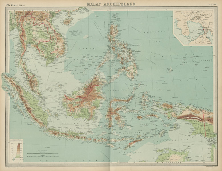Associate Product Malay Archipelago. Indonesia Philippines Dutch East Indies. THE TIMES 1922 map