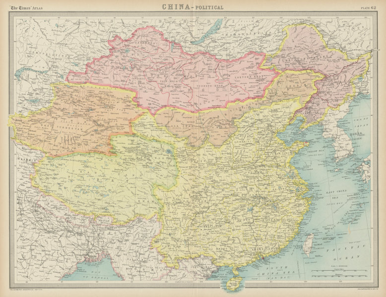 Associate Product China political. Tibet Sin Kiang Inner/Outer Mongolia Manchuria. TIMES 1922 map