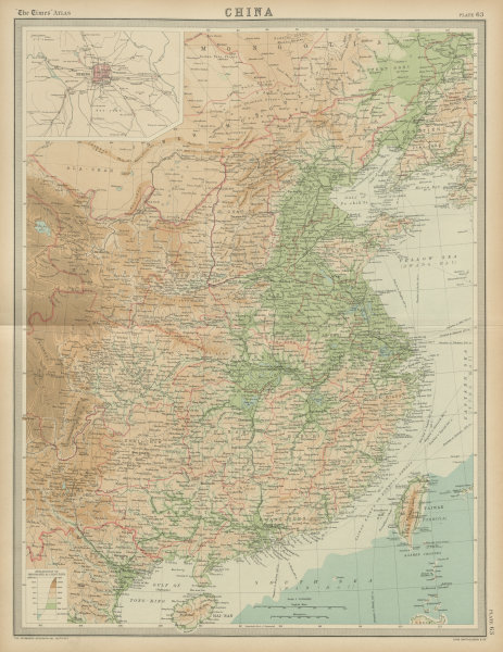 Associate Product Eastern China. Relief, railways & provinces THE TIMES 1922 old vintage map