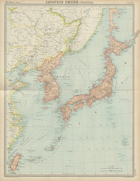 Associate Product Japanese Empire. Korea Japan Taiwan Formosa. THE TIMES 1922 old vintage map
