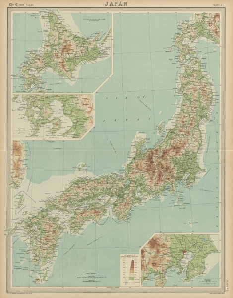 Japanese Islands relief. THE TIMES 1922 old vintage map plan chart