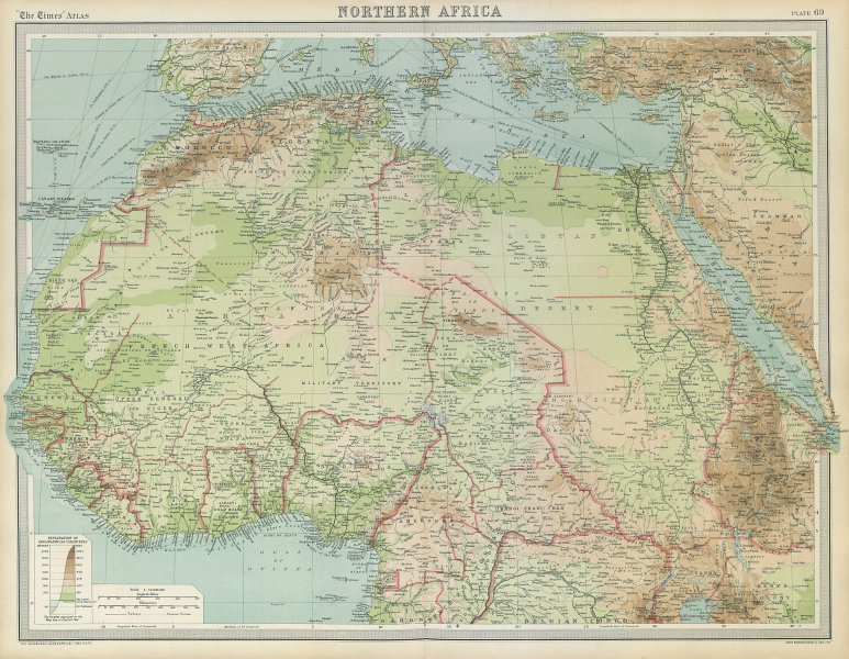 Associate Product North & West Africa. Dahomey. Gold Coast. Military Territory. THE TIMES 1922 map