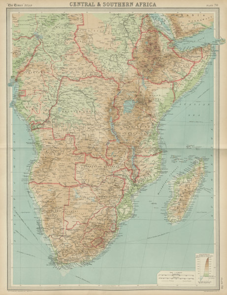 Central & Southern colonial Africa. Rhodesia Tanganyika Congo. TIMES 1922 map